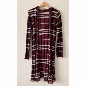 Faded Glory Plaid Hooded Open Cardigan